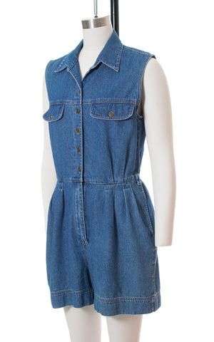 1990s Denim Romper with Pockets