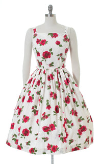 1950s Floral Cotton Hot Pink White Sundress