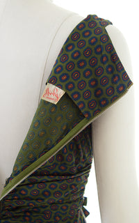 1950s Paisley Green Cotton Wiggle Dress