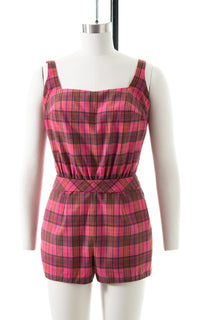 1950s Pink Plaid Cotton Romper