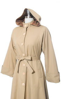 1970s Hooded Plaid Lined Tan Belted Trench Coat | medium