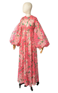 1960s Hydrangea Floral Chiffon Balloon Sleeve Maxi Gown