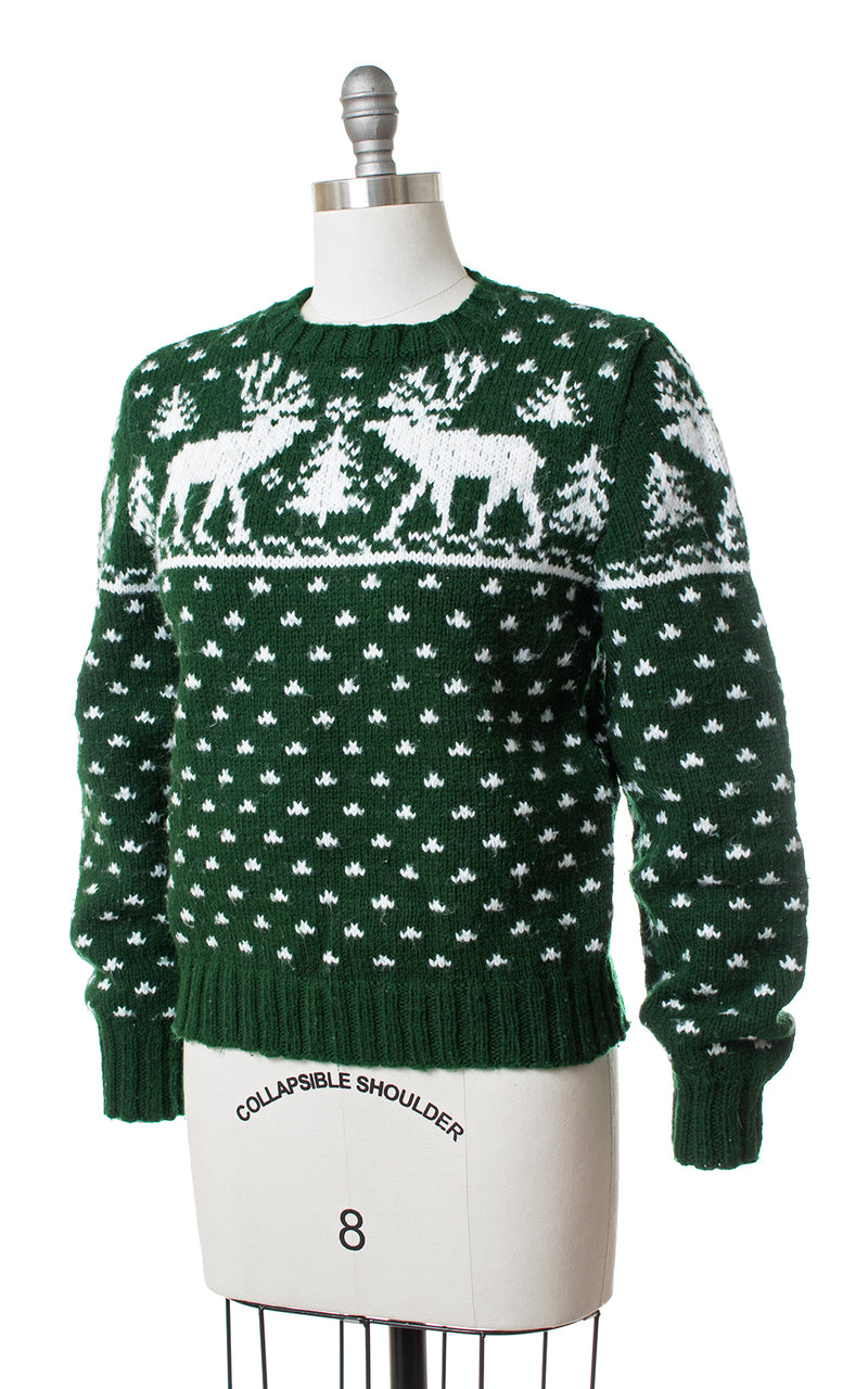 1970s Reindeer & Pine Tree Knit Novelty Sweater