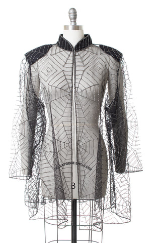 1980s Spiderweb Beaded Mesh Jacket or Swimsuit Coverup