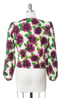 1940s Purple Floral Jersey Blouse