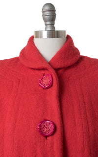 1950s Red Wool Swing Coat with Candy Buttons