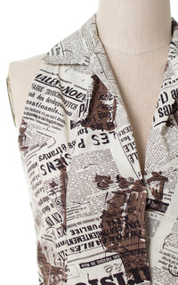 1950s French Newspaper Novelty Print Blouse