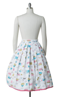 1950s Trains Novelty Print Cotton Skirt