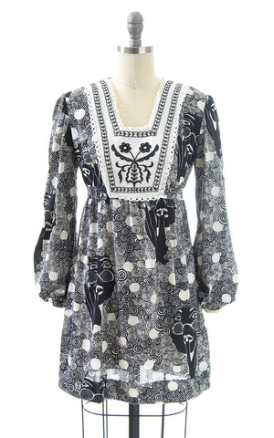 1970s Magical Lady Novelty Print Tunic Mini Dress | x-small