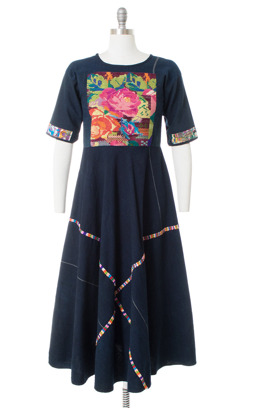 1970s Rose Embroidered Huipil Maxi Dress
