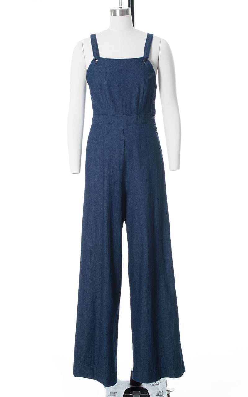1940s Style Denim Side Button Wide Leg Overalls