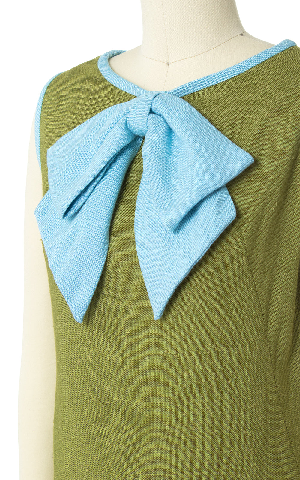 1960s Big Bow Green Linen Shift Sundress