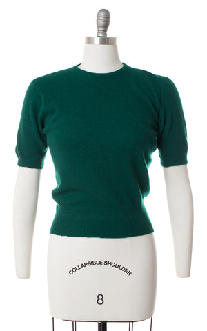 1950s Forest Green Cashmere Sweater Top | small/medium