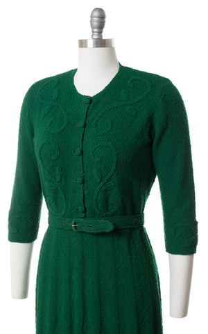 1940s Forest Green Knit Wool Dress