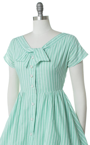 1960s Gold Striped Mint Shirtwaist Dress