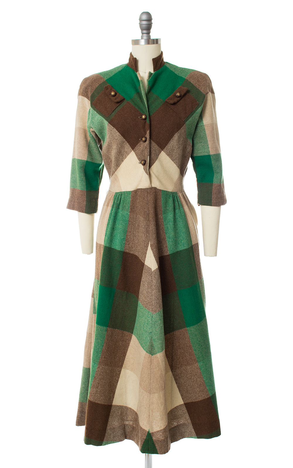 1940s Plaid Wool Shirtwaist Dress