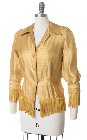 1950s Fringed Gold Lamé Western Blouse