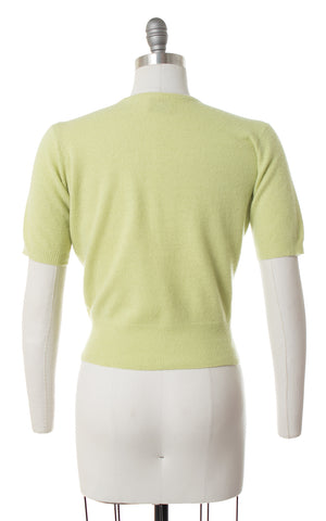 ♦ SOLD ♦ 1950s Jantzen Pastel Tomatillo Green Cashmere Sweater Top | medium/large