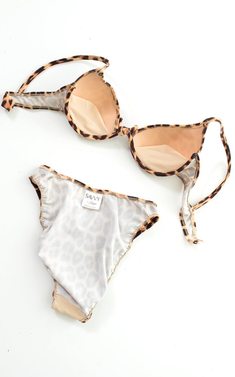 1980s 1990s Leopard Print High Cut Bikini