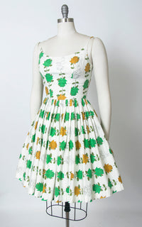 1950s Illustrated Rose Print Cotton Sundress | small