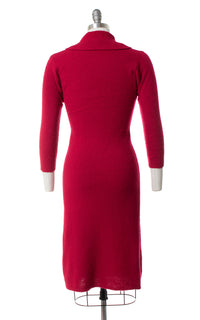1950s Raspberry Wool Chenille Sweater Dress