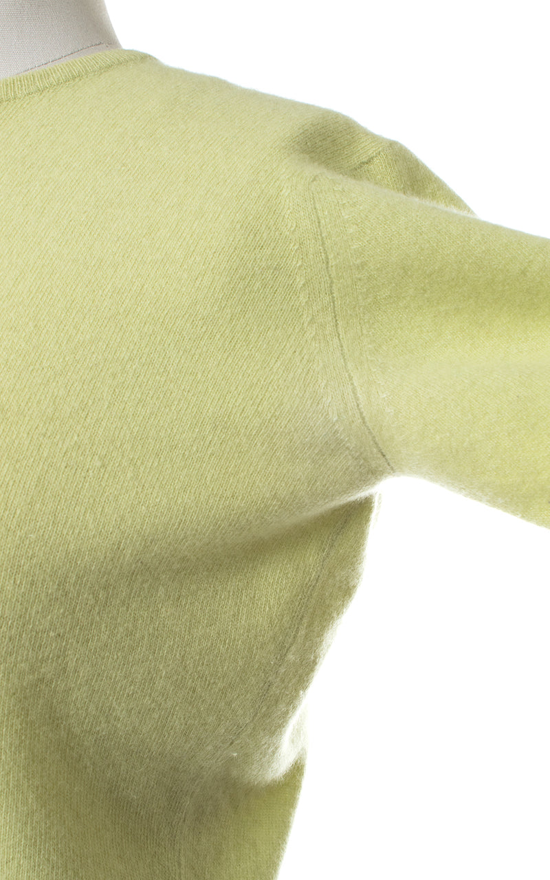1950s Jantzen Pastel Tomatillo Green Cashmere Sweater Top | medium/large