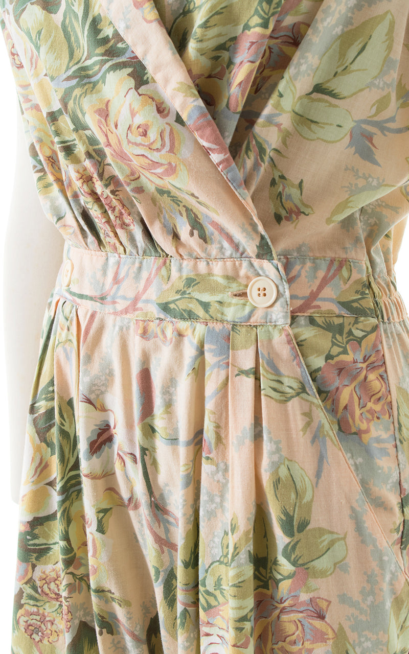 1980s Diane von Furstenberg Rose Cotton Jumpsuit BirthdayLifeVintage