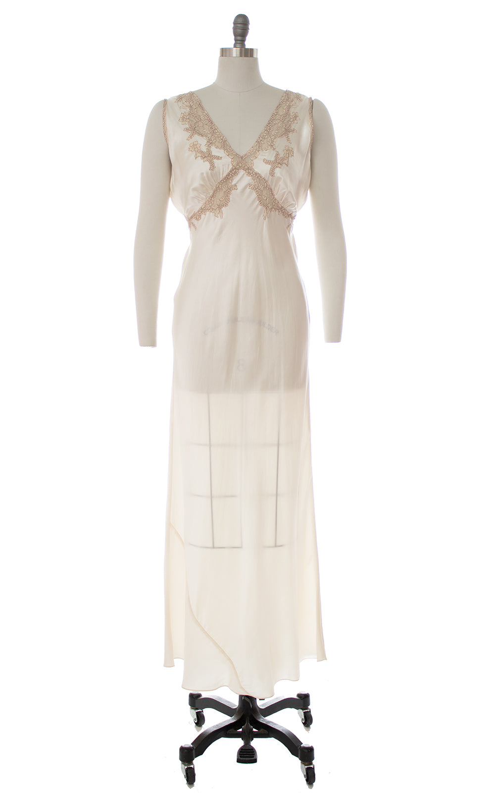 1940s Bias-Cut Ivory Rayon Satin Nightgown