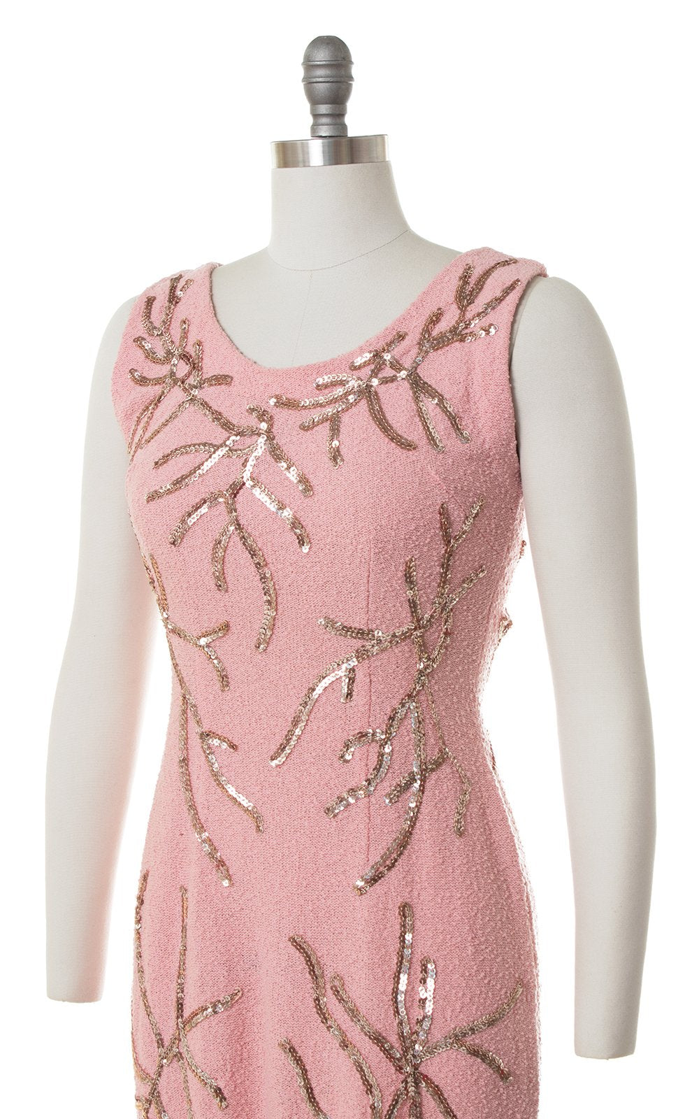 1950s Snyderknit Sequin Pink Knit Wool Sweater Dress