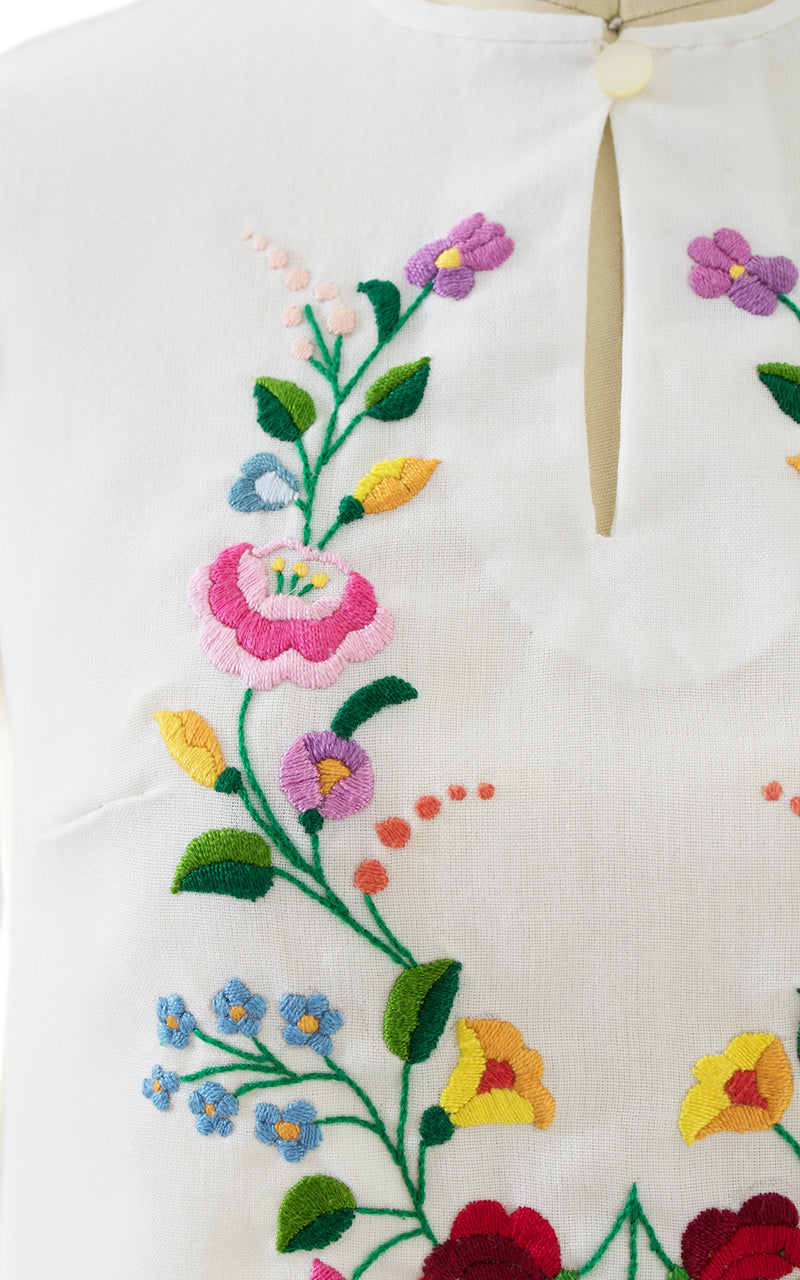 1970s Floral Embroidered Puff Sleeve Peasant Top | x-small/small