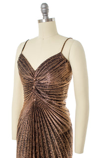 1950s Style Travilla Inspired Gold Accordion Pleated Party Dress