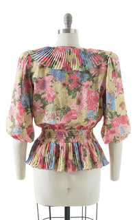 1980s Floral Ruffled Peplum Puff Sleeve Blouse
