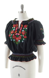 1930s Style Floral Embroidered Peasant Top