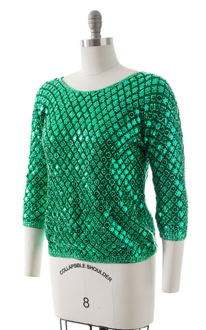 1950s Sequin Beaded Knit Wool Sweater