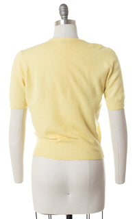 1950s Pastel Yellow Cashmere Sweater Top | small/medium