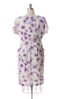 1950s Purple Floral Wiggle Dress with Pockets