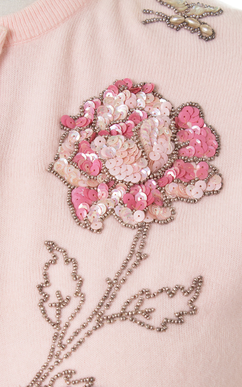 1950s Sequin Rose + Butterfly Pink Cardigan