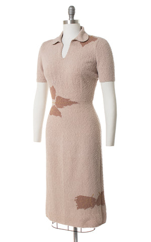 1950s Metallic Leaf Bouclé Knit Wool Sweater Dress