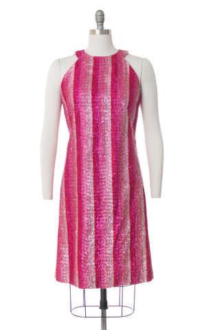 1960s Eyelash Tinsel Striped Party Dress