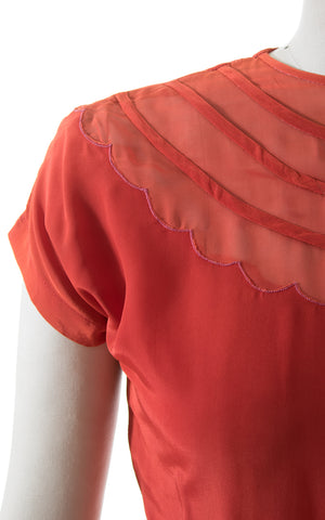 1940s Pumpkin Rayon Scalloped Button Back Blouse