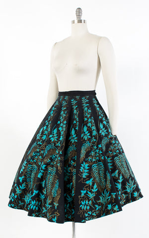 1950s Mexican Metallic Fern Black Cotton Circle Skirt | medium