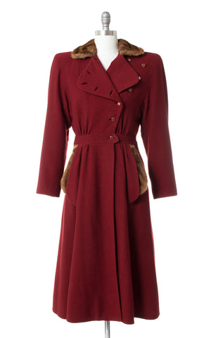 1930s 1940s Fur Trim Burgundy Wool Princess Coat