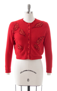 1950s Sequin Beaded Red Knit Cardigan
