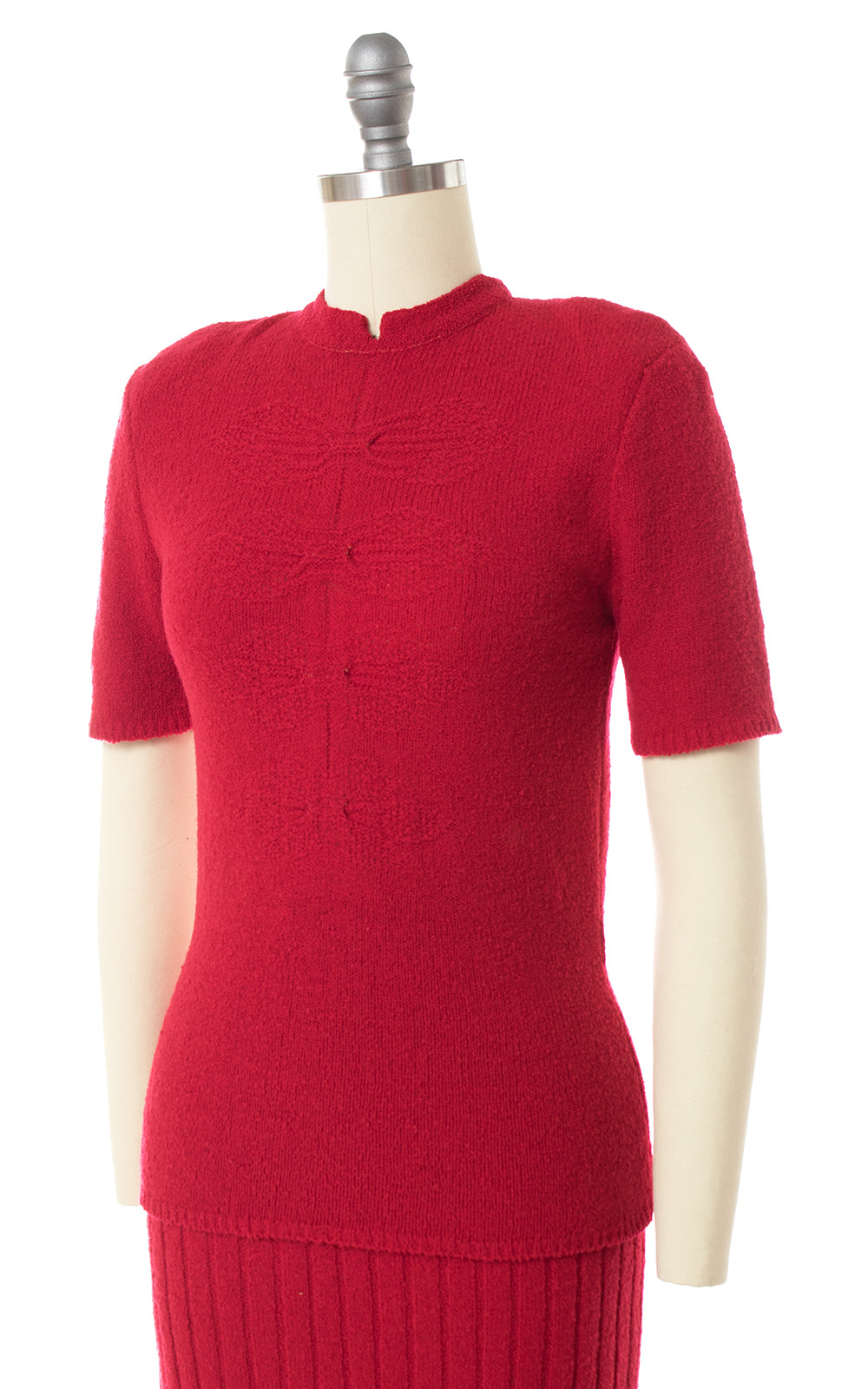 1940s 1950s Bright Red Knit Wool Sweater & Skirt Set