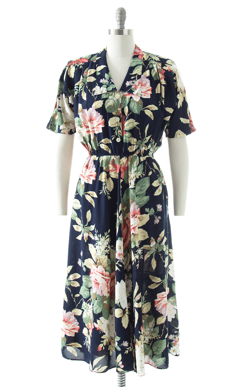 1980s Carol Anderson Rose Print Rayon Shirt Dress with Pockets