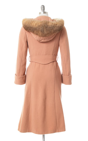 1970s Fur Hooded Dusty Rose Wool Princess Coat