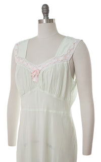 1930s 1940s Bias-Cut Mint Cold Rayon Nightgown | medium
