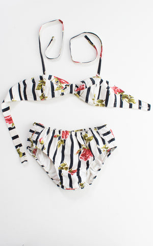 1950s Rose Striped Cotton Bikini