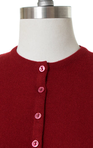 1950s Dark Red Cashmere Cardigan