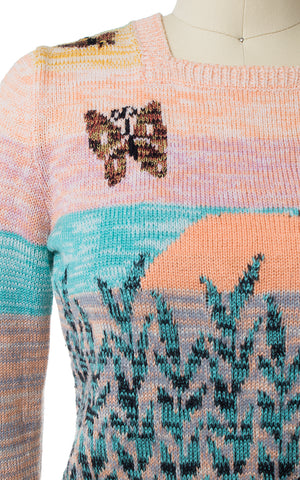 1970s Butterflies at Sunset Novelty Knit Sweater
